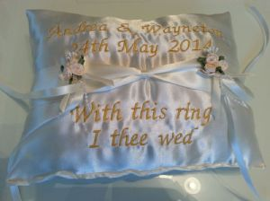 PERSONALISED WEDDING RING BEARERS CUSHION